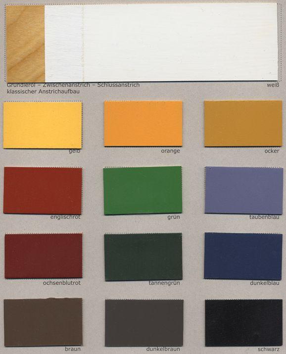 Standölfarbe Farbfächer